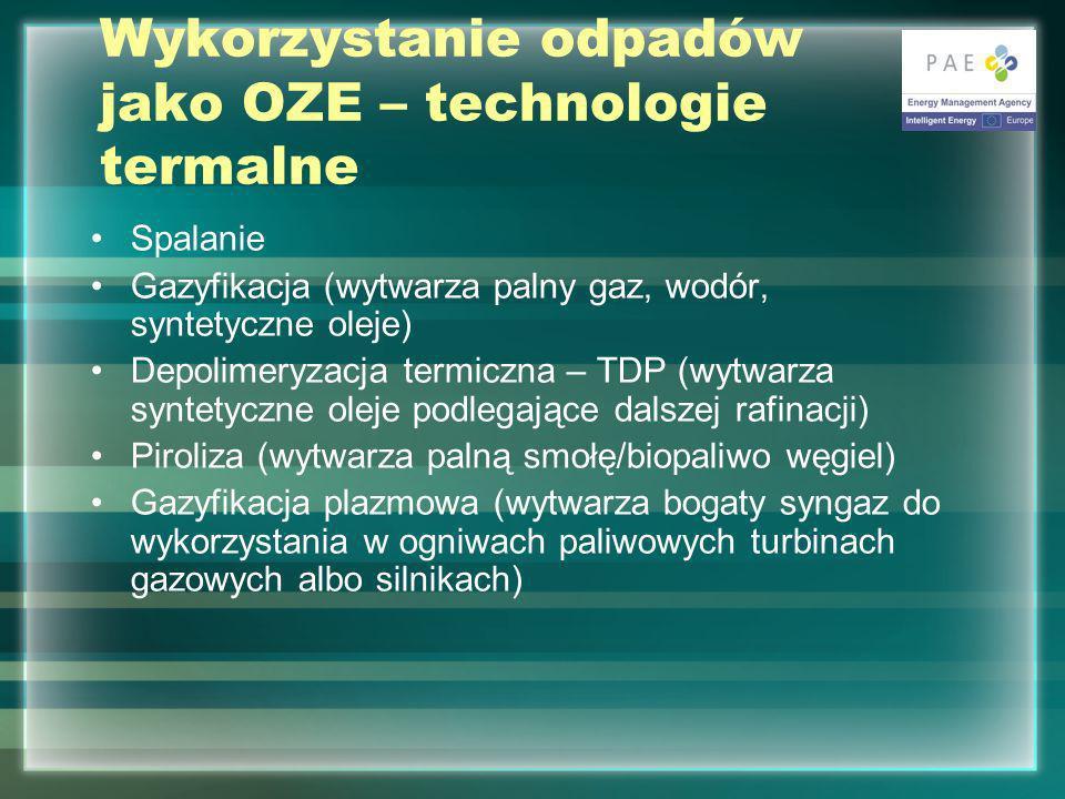Wykorzystanie odpadów jako OZE – technologie termalne