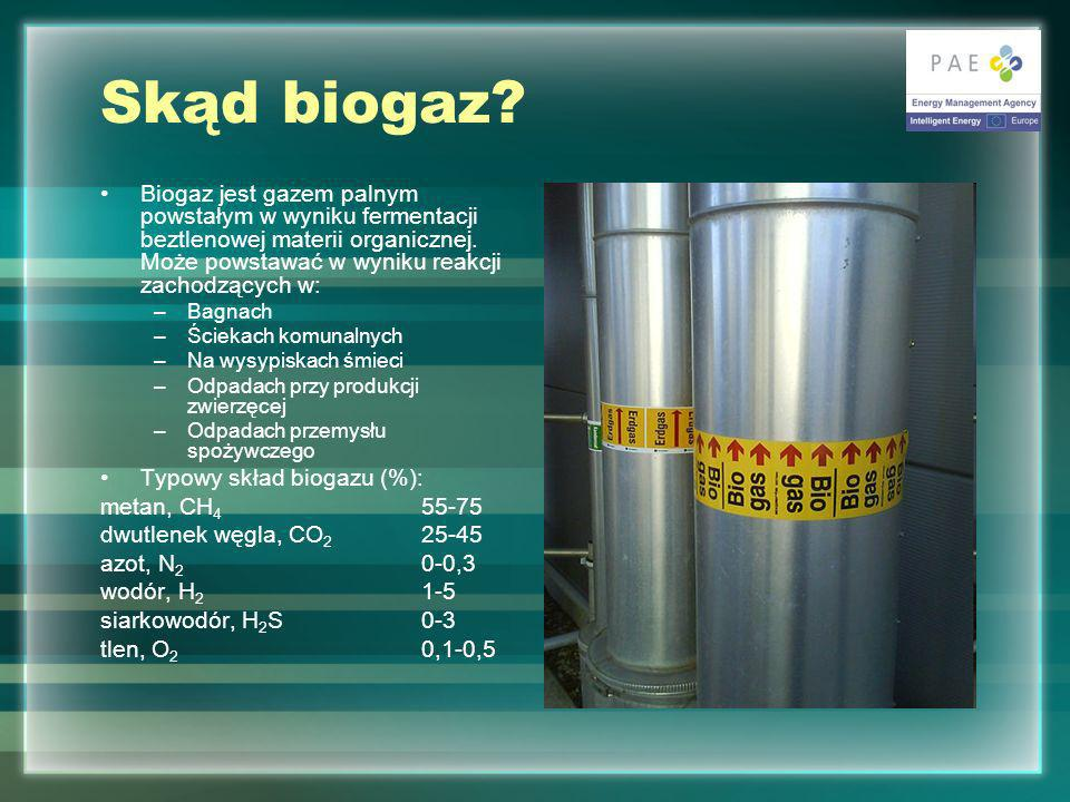 Skąd biogaz Biogaz jest gazem palnym powstałym w wyniku fermentacji beztlenowej materii organicznej. Może powstawać w wyniku reakcji zachodzących w: