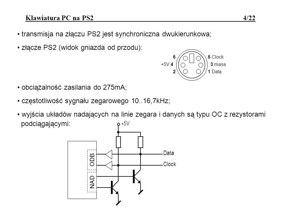 transmisja na złączu PS2 jest synchroniczna dwukierunkowa;