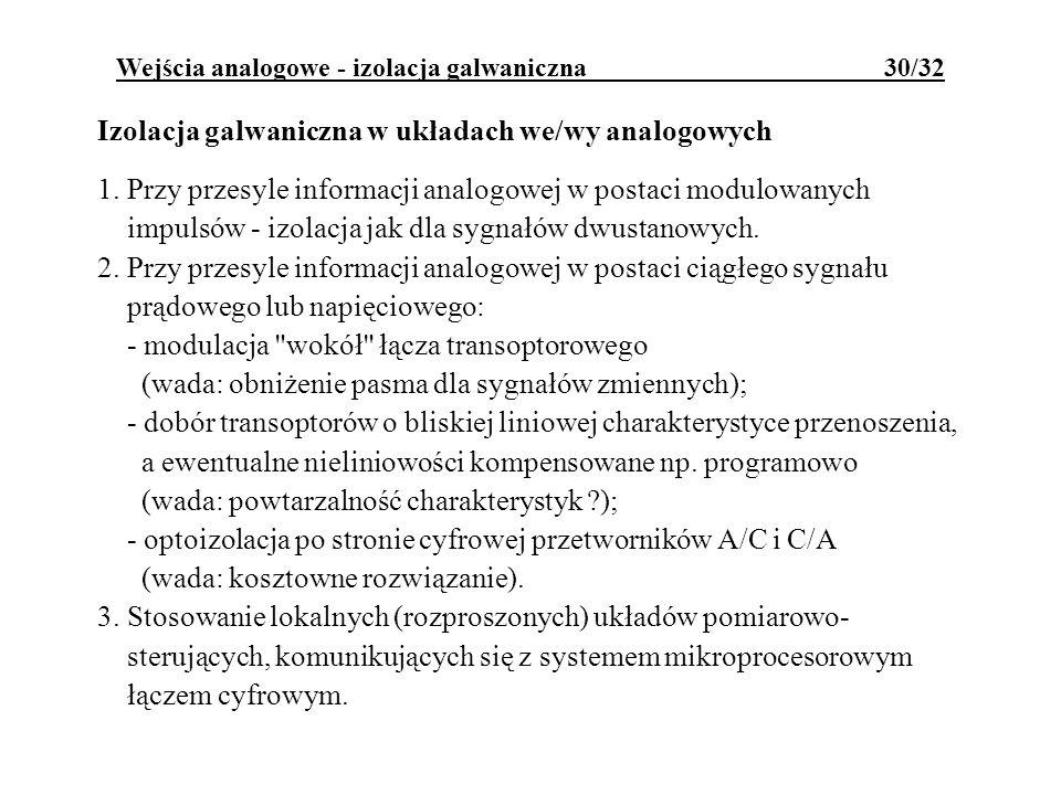 Wejścia analogowe - izolacja galwaniczna 30/32