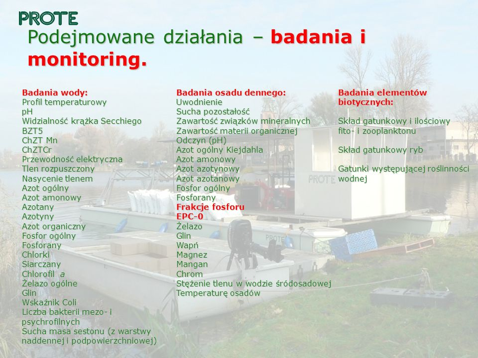 Podejmowane działania – badania i monitoring.