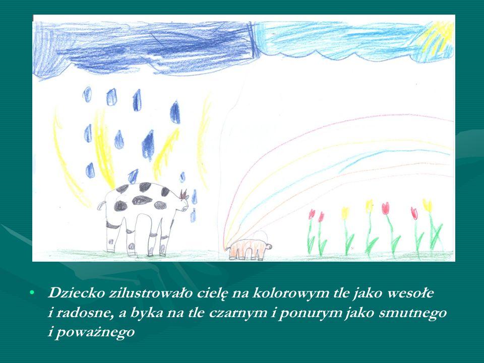 Dziecko zilustrowało cielę na kolorowym tle jako wesołe i radosne, a byka na tle czarnym i ponurym jako smutnego i poważnego