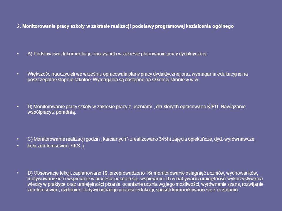 2. Monitorowanie pracy szkoły w zakresie realizacji podstawy programowej kształcenia ogólnego