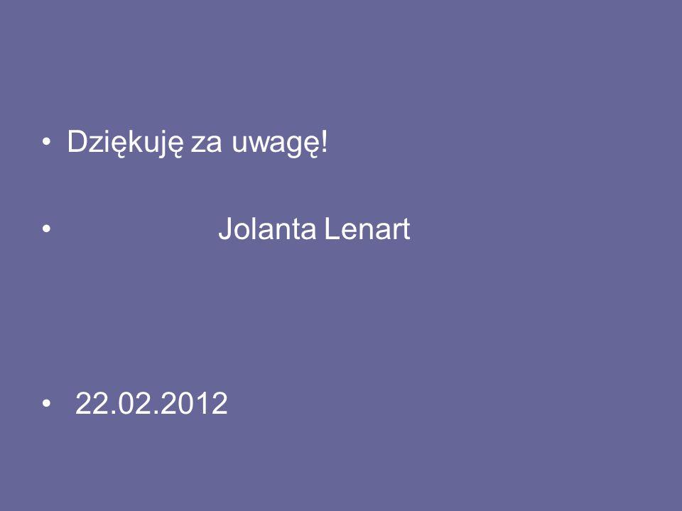 Dziękuję za uwagę! Jolanta Lenart 22.02.2012