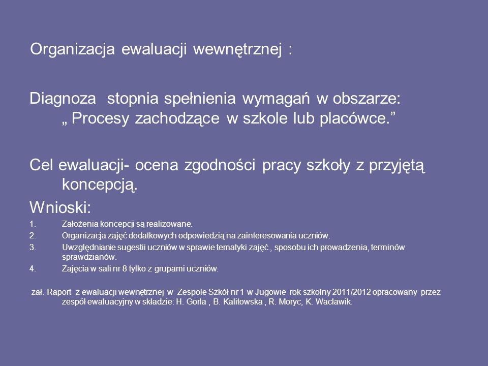 Organizacja ewaluacji wewnętrznej :