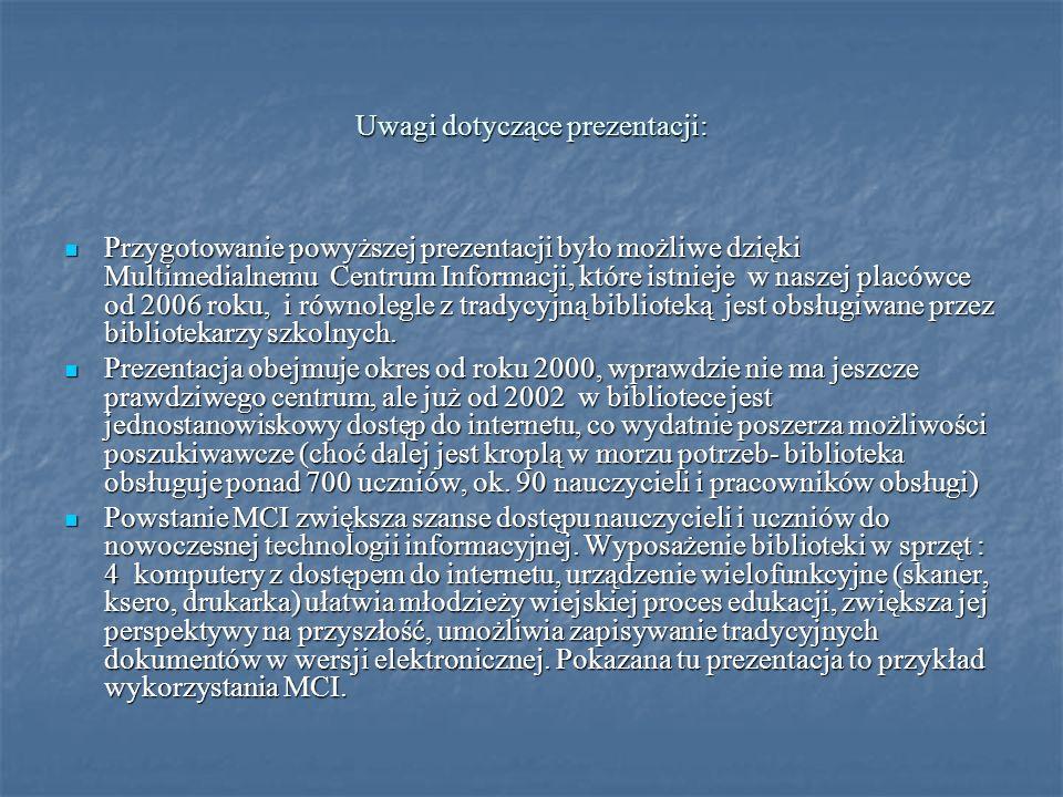 Uwagi dotyczące prezentacji:
