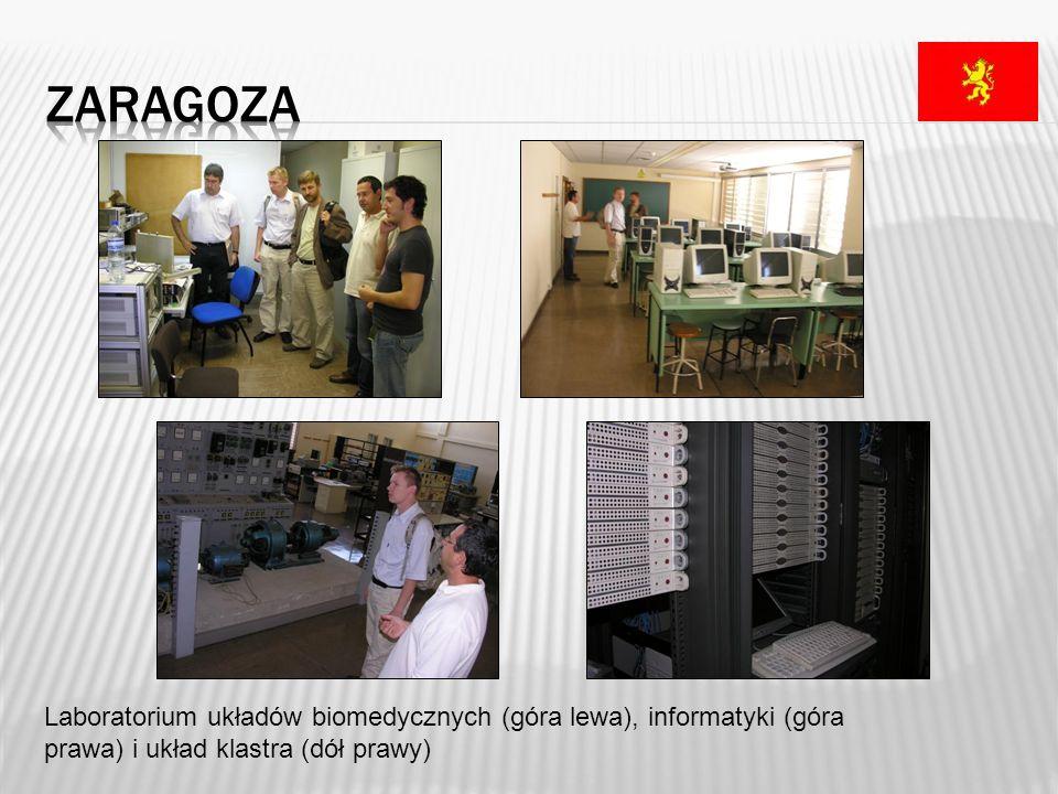 zaragoza Laboratorium układów biomedycznych (góra lewa), informatyki (góra prawa) i układ klastra (dół prawy)