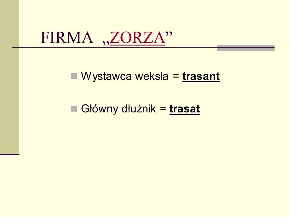 """FIRMA """"ZORZA Wystawca weksla = trasant Główny dłużnik = trasat"""