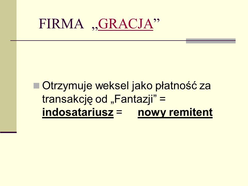 """FIRMA """"GRACJA Otrzymuje weksel jako płatność za transakcję od """"Fantazji = indosatariusz = nowy remitent."""