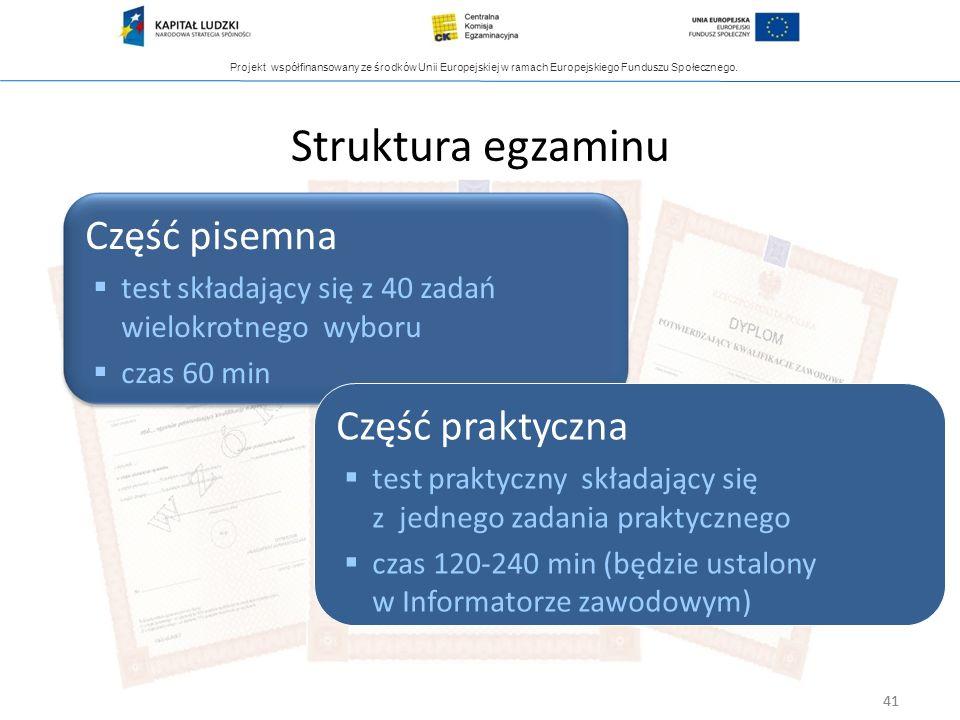Struktura egzaminu Część pisemna Część praktyczna