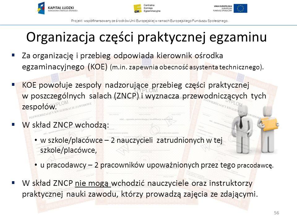 Organizacja części praktycznej egzaminu