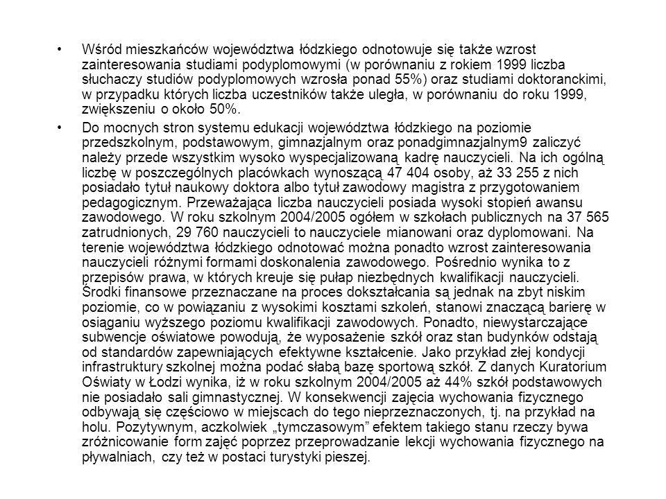 Wśród mieszkańców województwa łódzkiego odnotowuje się także wzrost zainteresowania studiami podyplomowymi (w porównaniu z rokiem 1999 liczba słuchaczy studiów podyplomowych wzrosła ponad 55%) oraz studiami doktoranckimi, w przypadku których liczba uczestników także uległa, w porównaniu do roku 1999, zwiększeniu o około 50%.