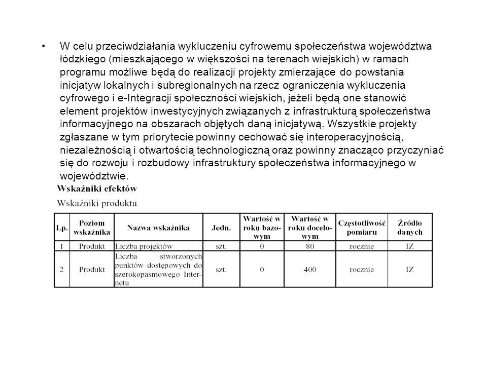 W celu przeciwdziałania wykluczeniu cyfrowemu społeczeństwa województwa łódzkiego (mieszkającego w większości na terenach wiejskich) w ramach programu możliwe będą do realizacji projekty zmierzające do powstania inicjatyw lokalnych i subregionalnych na rzecz ograniczenia wykluczenia cyfrowego i e-Integracji społeczności wiejskich, jeżeli będą one stanowić element projektów inwestycyjnych związanych z infrastrukturą społeczeństwa informacyjnego na obszarach objętych daną inicjatywą.