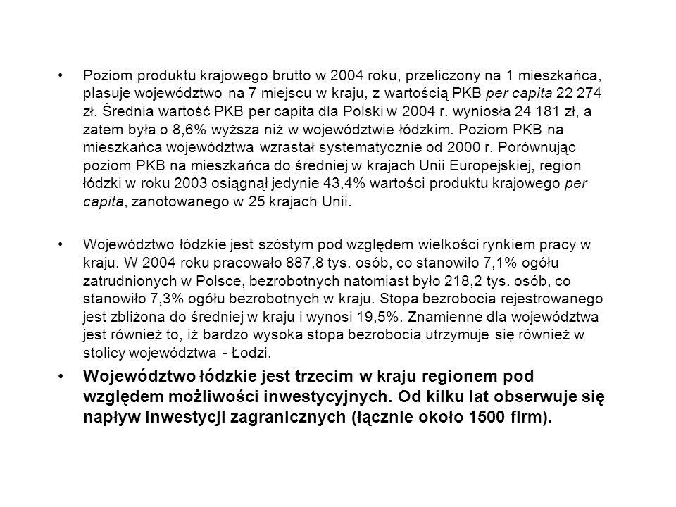 Poziom produktu krajowego brutto w 2004 roku, przeliczony na 1 mieszkańca, plasuje województwo na 7 miejscu w kraju, z wartością PKB per capita 22 274 zł. Średnia wartość PKB per capita dla Polski w 2004 r. wyniosła 24 181 zł, a zatem była o 8,6% wyższa niż w województwie łódzkim. Poziom PKB na mieszkańca województwa wzrastał systematycznie od 2000 r. Porównując poziom PKB na mieszkańca do średniej w krajach Unii Europejskiej, region łódzki w roku 2003 osiągnął jedynie 43,4% wartości produktu krajowego per capita, zanotowanego w 25 krajach Unii.