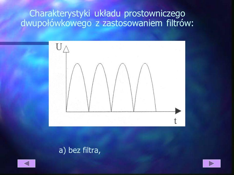Charakterystyki układu prostowniczego dwupołówkowego z zastosowaniem filtrów: