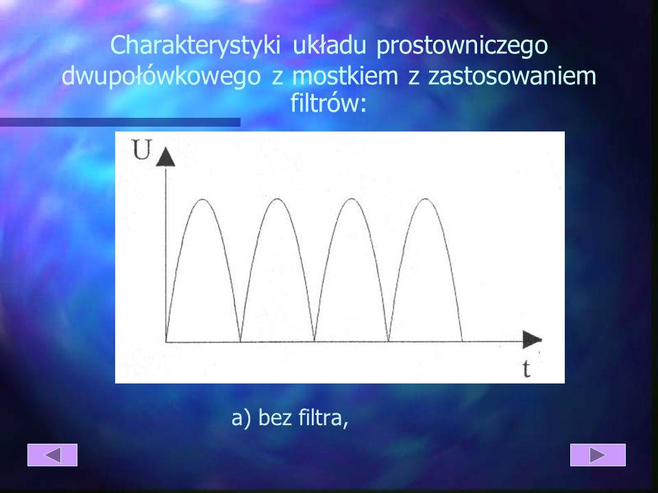 Charakterystyki układu prostowniczego dwupołówkowego z mostkiem z zastosowaniem filtrów: