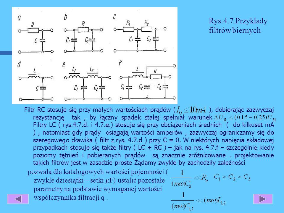 Rys.4.7.Przykłady filtrów biernych