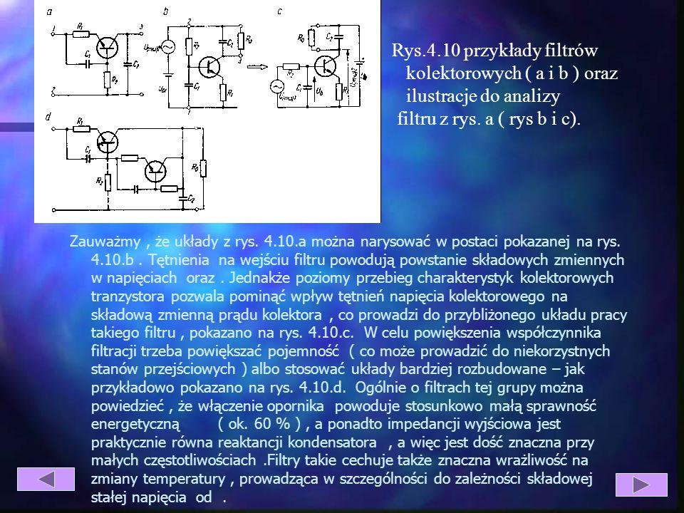 Rys.4.10 przykłady filtrów kolektorowych ( a i b ) oraz ilustracje do analizy