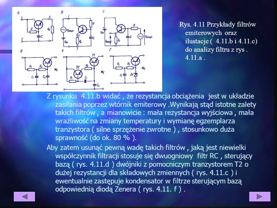 Rys. 4. 11 Przykłady filtrów emiterowych oraz ilustacje ( 4. 11. b i 4