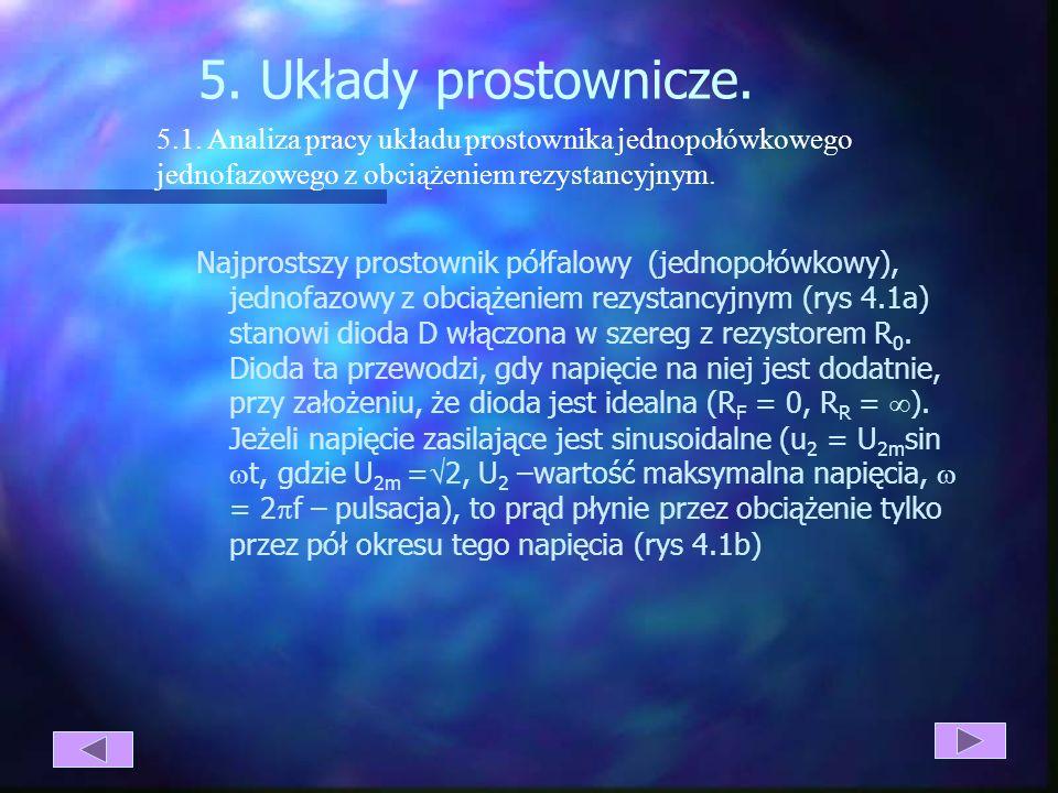 5. Układy prostownicze. 5.1. Analiza pracy układu prostownika jednopołówkowego. jednofazowego z obciążeniem rezystancyjnym.