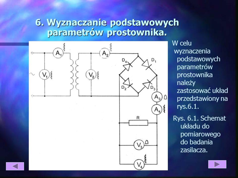6. Wyznaczanie podstawowych parametrów prostownika.