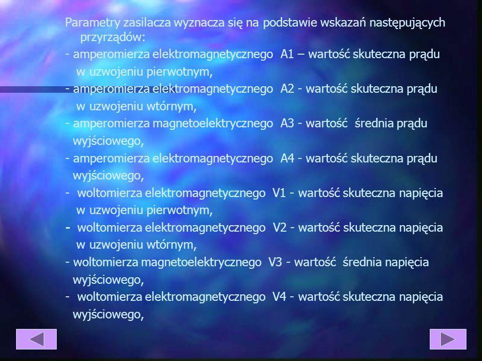 Parametry zasilacza wyznacza się na podstawie wskazań następujących przyrządów: