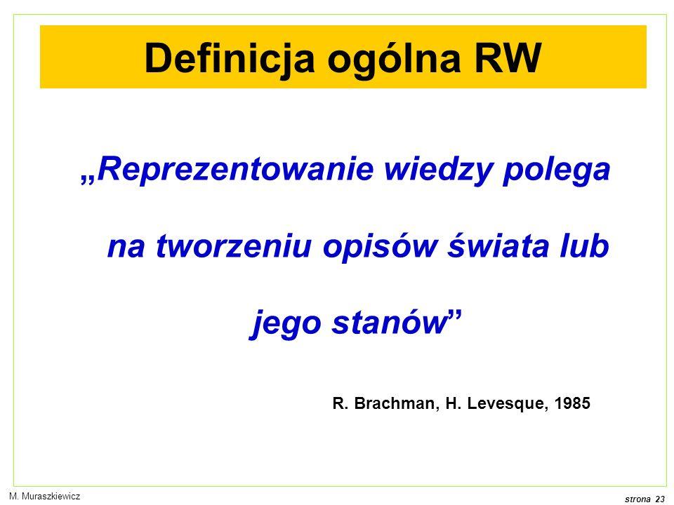 """Definicja ogólna RW """"Reprezentowanie wiedzy polega na tworzeniu opisów świata lub jego stanów R. Brachman, H. Levesque, 1985."""