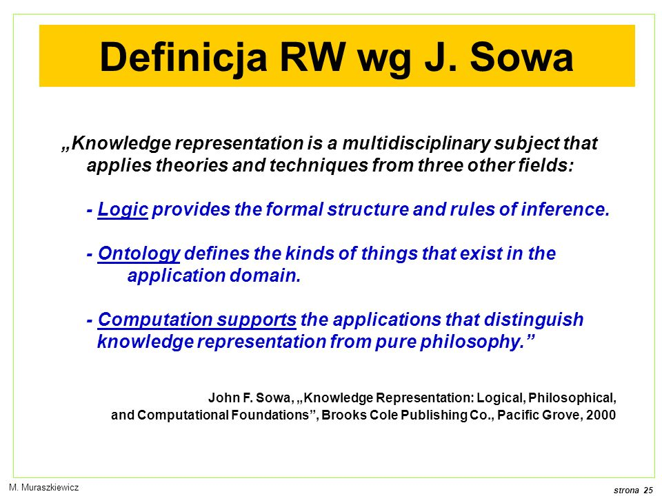 "Definicja RW wg J. Sowa ""Knowledge representation is a multidisciplinary subject that applies theories and techniques from three other fields:"