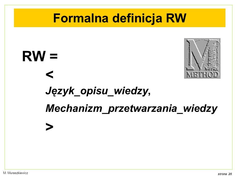 RW = < Język_opisu_wiedzy, > Formalna definicja RW