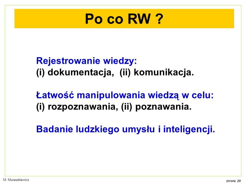 Po co RW Rejestrowanie wiedzy: dokumentacja, (ii) komunikacja.