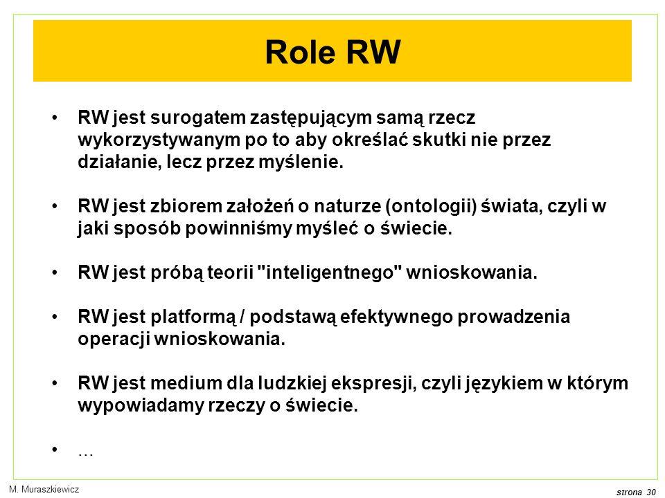 Role RW RW jest surogatem zastępującym samą rzecz wykorzystywanym po to aby określać skutki nie przez działanie, lecz przez myślenie.