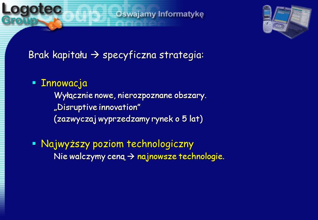 Brak kapitału  specyficzna strategia: Innowacja