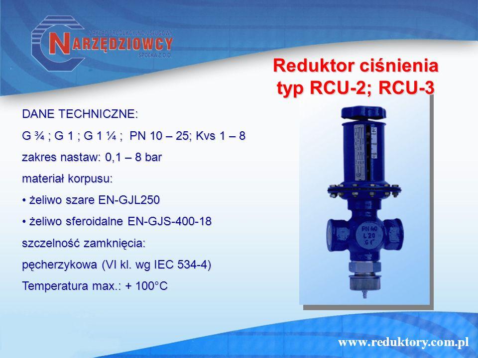 Reduktor ciśnienia typ RCU-2; RCU-3