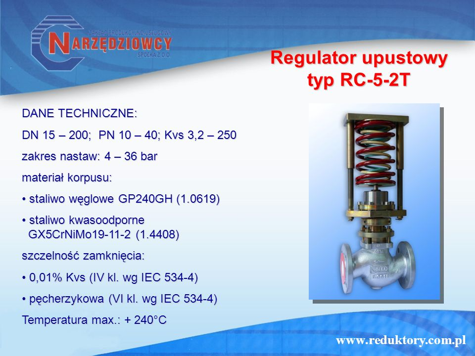 Regulator upustowy typ RC-5-2T