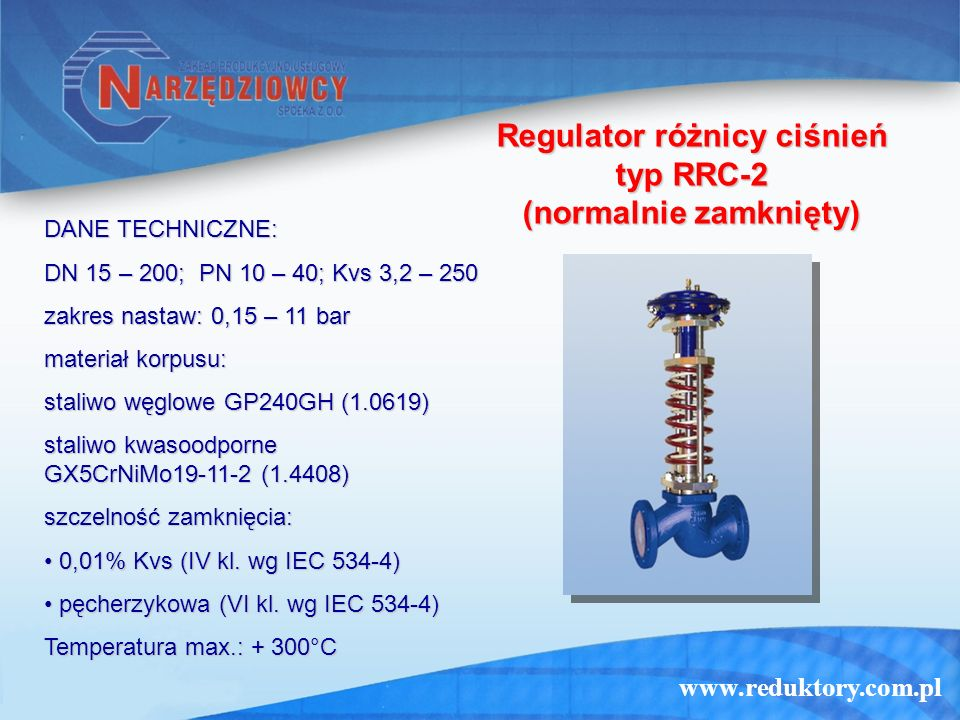 Regulator różnicy ciśnień typ RRC-2 (normalnie zamknięty)
