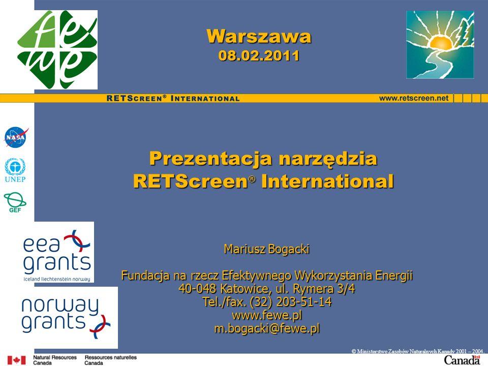 Prezentacja narzędzia RETScreen® International