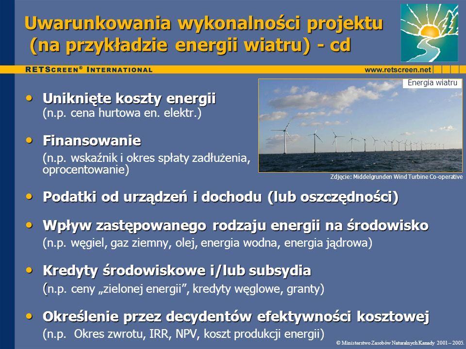 Uwarunkowania wykonalności projektu (na przykładzie energii wiatru) - cd