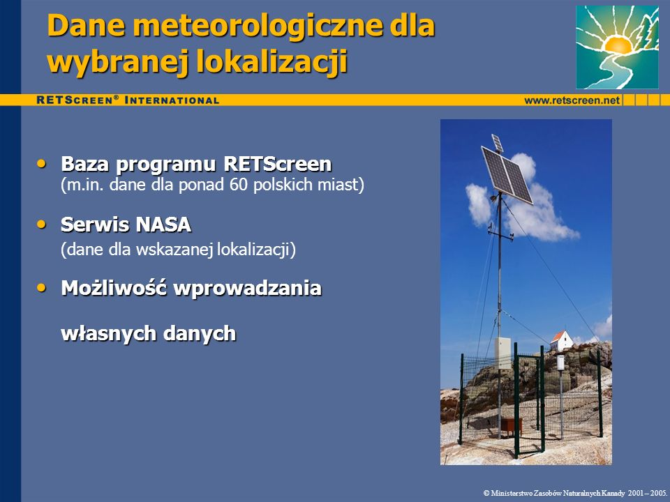 Dane meteorologiczne dla wybranej lokalizacji