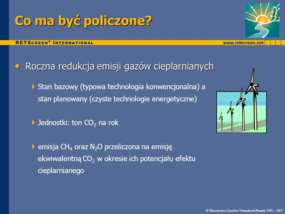 Co ma być policzone Roczna redukcja emisji gazów cieplarnianych