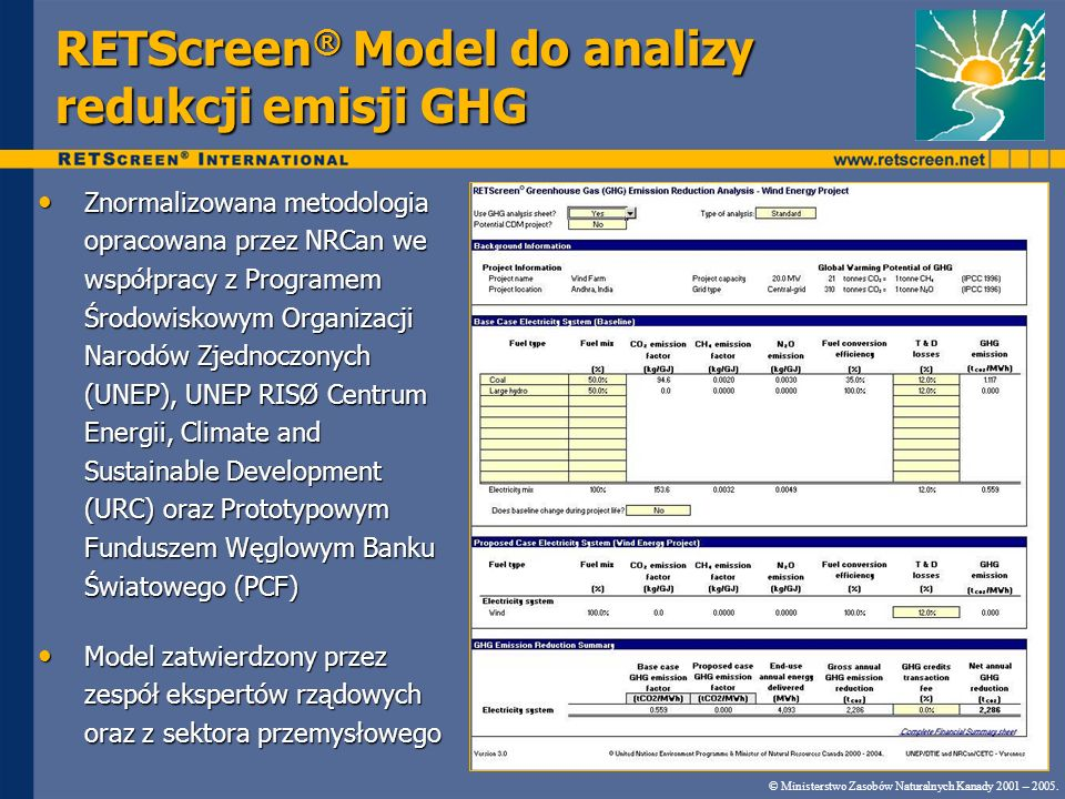RETScreen® Model do analizy redukcji emisji GHG