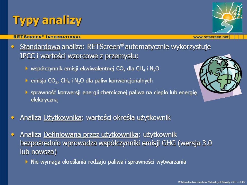 Typy analizy Standardowa analiza: RETScreen® automatycznie wykorzystuje IPCC i wartości wzorcowe z przemysłu: