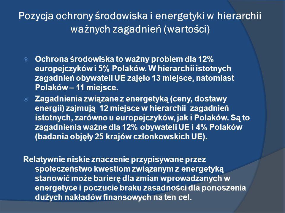Pozycja ochrony środowiska i energetyki w hierarchii ważnych zagadnień (wartości)