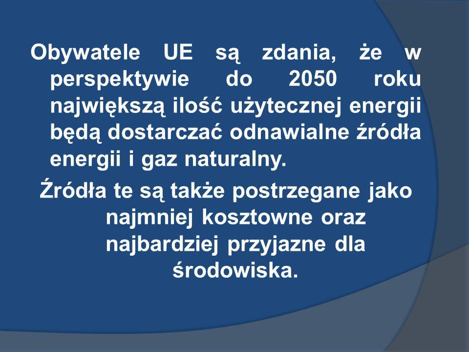 Obywatele UE są zdania, że w perspektywie do 2050 roku największą ilość użytecznej energii będą dostarczać odnawialne źródła energii i gaz naturalny.