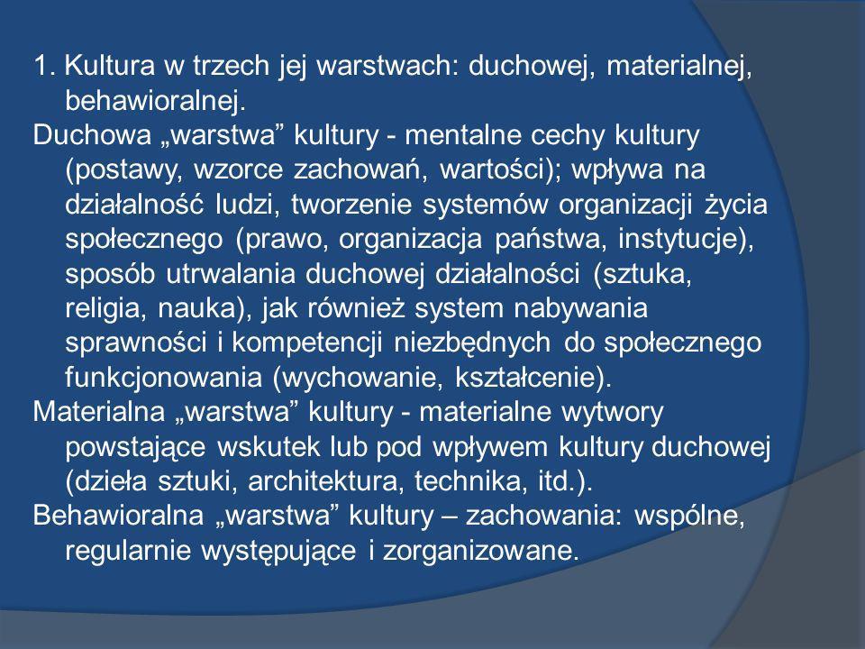 1. Kultura w trzech jej warstwach: duchowej, materialnej, behawioralnej.