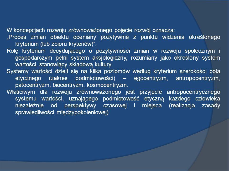 W koncepcjach rozwoju zrównoważonego pojęcie rozwój oznacza: