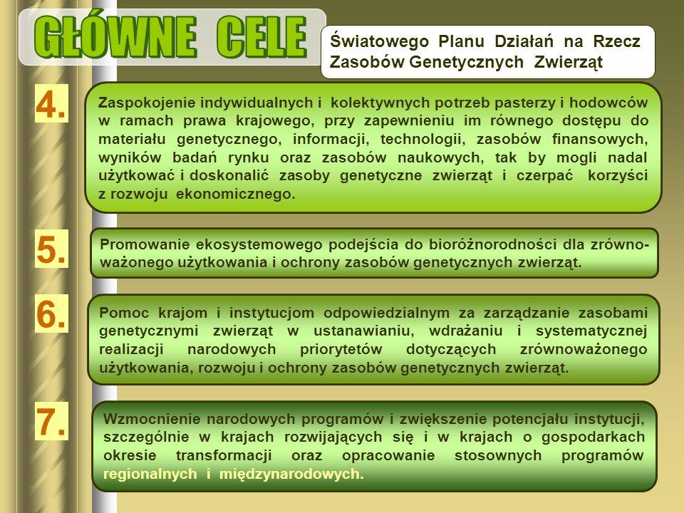 GŁÓWNE CELE Światowego Planu Działań na Rzecz Zasobów Genetycznych Zwierząt. 4.