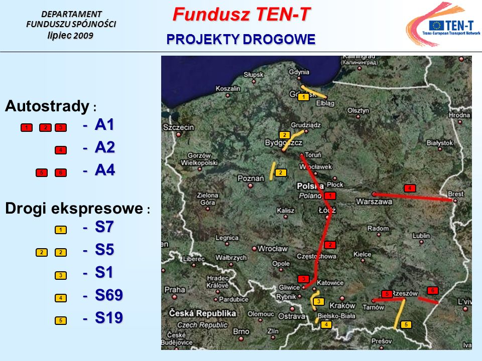 Fundusz TEN-T Autostrady : - A1 - A2 - A4 Drogi ekspresowe : - S7 - S5