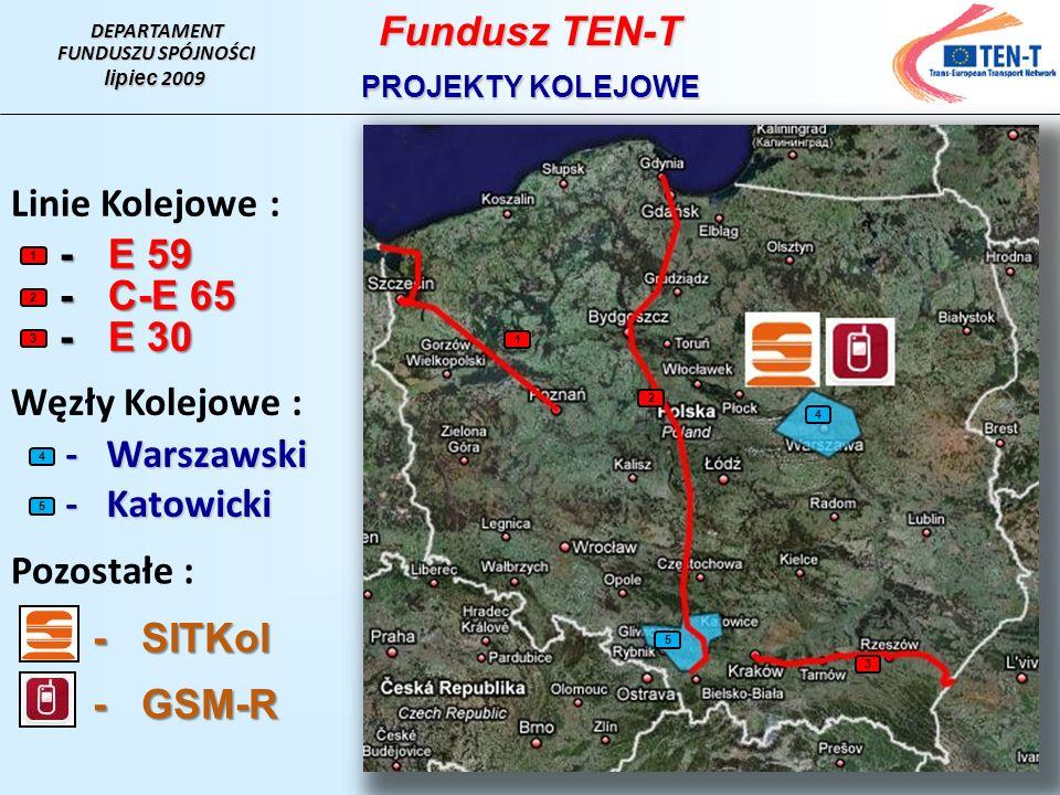 Fundusz TEN-T Linie Kolejowe : - E 59 - C-E 65 - E 30 Węzły Kolejowe :