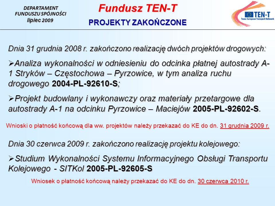 DEPARTAMENT FUNDUSZU SPÓJNOŚCI. lipiec 2009. Fundusz TEN-T. PROJEKTY ZAKOŃCZONE.