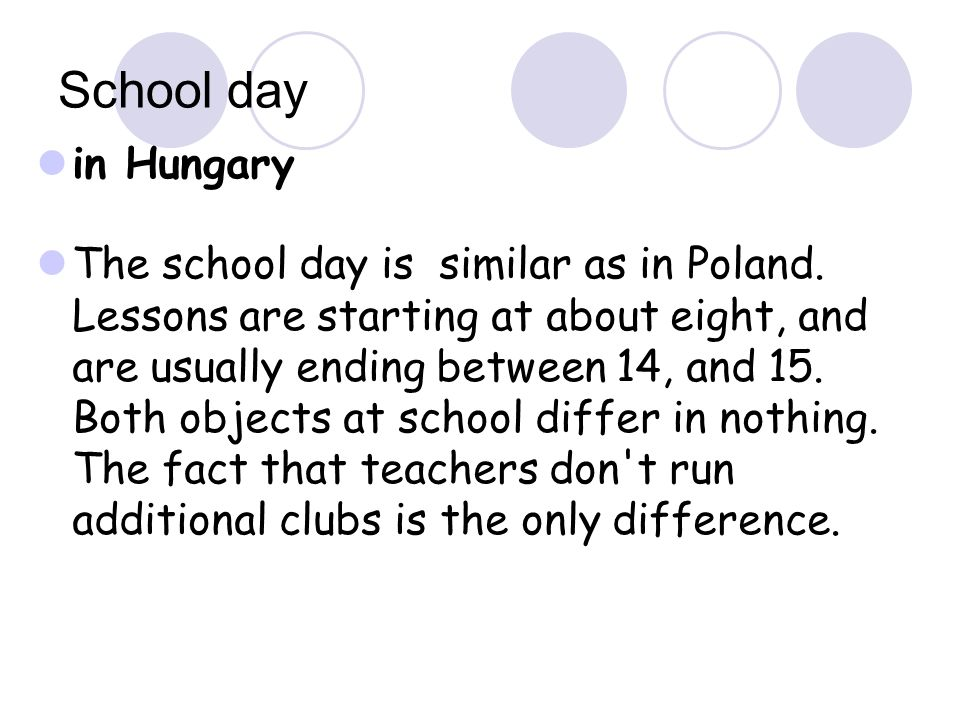 School day in Hungary.